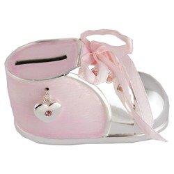 473-3136 Skarbonka dziecięca z masy perłowej - różowy bucik z serduszkiem