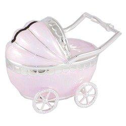 473-3142 Skarbonka z masy perłowej - różowy wózek dziecięcy