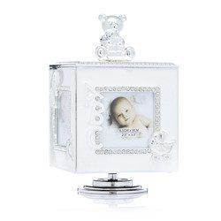 473-3283 Pudełko z masy perłowej na zdjęcia- kremowe, pozytywka