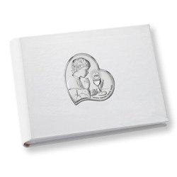 Album z obrazkiem srebrnym Pamiątka I Komunii dla chłopca DS0703O