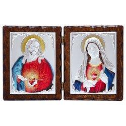 Dyptyk srebrny Serce Jezusa z Niepokalanym Sercem Maryi 31306LADPTD