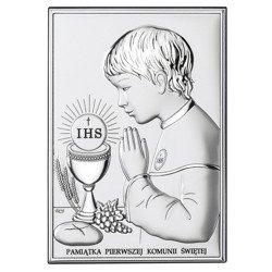 Obrazek Srebrny Pamiątka I Komunii dla chłopca prostokąt z podpisem DS04O