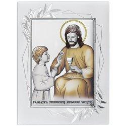 Obrazek Srebrny Pamiątka I Komunii dla dziewczynki prostokąt z podpisem DS45FOCO