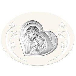 Obrazek Srebrny Święta Rodzina drewniana ramka 6432P