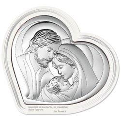 Obrazek Świętej Rodziny srebrny Serce 6432F