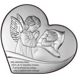 Obrazek na chrzciny srebrny Aniołek nad dzieckiem z podpisem 6728S
