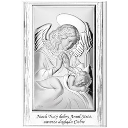 Obrazek srebrny Anioł Stróż nad dzieciątkiem 826