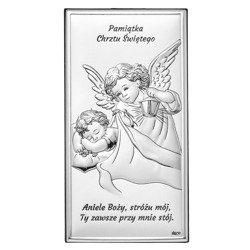 Obrazek srebrny Aniołek Pamiątka Chrztu Świętego DS01