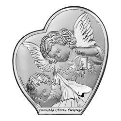 Obrazek srebrny Aniołek nad dzieciątkiem z latarenką Pamiątka Chrztu Świętego 6591S