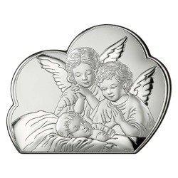 Obrazek srebrny Aniołki nad dzieckiem 81256