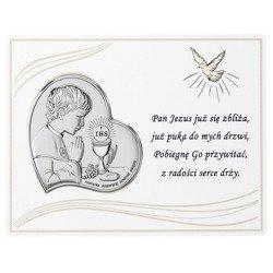 Panel z obrazkiem srebrnym Pamiątka I Komunii dla chłopca DS08031O