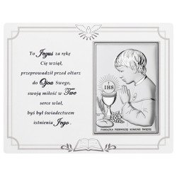 Panel z obrazkiem srebrnym Pamiątka I Komunii dla chłopca DS08041O