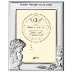 Ramka Srebrna Pamiątka I Komunii prostokąt z podpisem DS06A