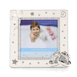 Ramka dziecięca z masy perłowej - beżowa, buciki 473-3324