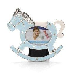 Ramka dziecięca z masy perłowej - niebieska, konik 473-3337
