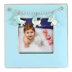 Ramka dziecięca z masy perłowej - niebieska, konik, wózek, miś 473-3312