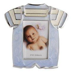 Ramka dziecięca z masy perłowej - niebieska, ubranko 473-3297