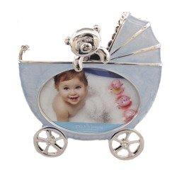 Ramka dziecięca z masy perłowej - niebieska, wózek 473-3239