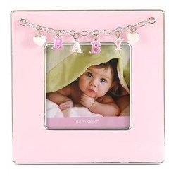 Ramka dziecięca z masy perłowej - różowa, Baby, serduszka 473-3310