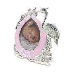 Ramka dziecięca z masy perłowej - różowa, bocian 473-3347