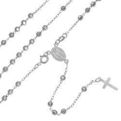 Różaniec srebrny - 5 dziesiątek rodowany diamentowany 4 mm srebro pr. 925 RC028