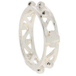 Różaniec srebrny obrączka na palec ażurowa, rozmiary 12-26  Srebro pr. 925 RPM10