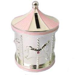 Skarbonka dziecięca z masy perłowej - różowa, karuzela 473-3144