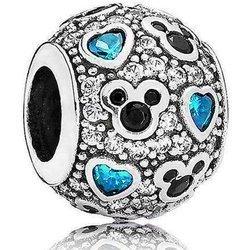 Srebrna przywieszka pr 925 Charms Mickey niebieskie cyrkonie PAN173
