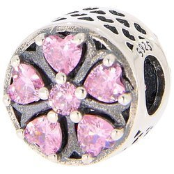 Srebrna przywieszka pr 925 Charms różowy kwiat PAN232
