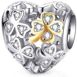 Srebrna przywieszka pr 925 Charms serce złota koniczyna cyrkonie PAN197