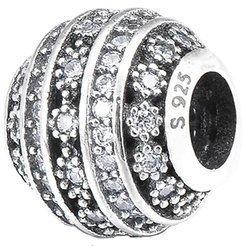 Srebrna przywieszka pr 925 Charms srebrna kulka cyrkonie PAN182
