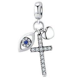 Srebrna przywieszka pr 925 Charms wiszący Oko opatrzności, serce, krzyż cyrkonie PAN168