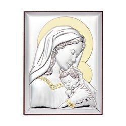 Srebrny obrazek na Chrzest Święty Matka Boska z dzieciątkiem 31128OROA