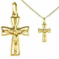 Zestaw Krzyżyk z łańcuszkiem pozłacany 24k złotem - Krzyż z wizerunkiem Jezusa MBR6/3/BROLAN45