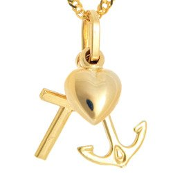 Złoty Krzyżyk wiara nadzieja miłość ZK037