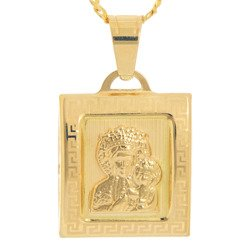 Złoty medalik pr. 585 M.B. Częstochowska kwadrat ramka wypukła ZM038