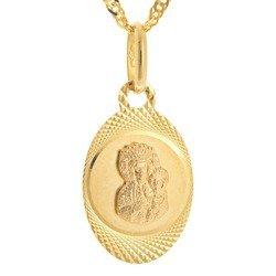 Złoty medalik pr. 585 M.B. Częstochowska owal ramka ZM028