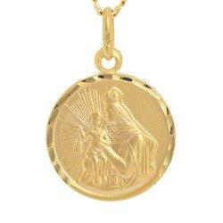 Złoty medalik pr. 585 M.B. Szkaplerzna Szkaplerz mały okrągły  ZM112