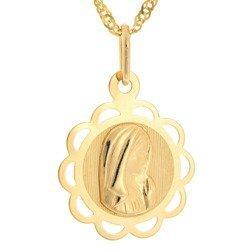 Złoty medalik pr. 585 Madonna kwiatek ażur  ZM059