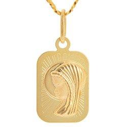 Złoty medalik pr. 585 Matka Boska profil prostokąt ZM086