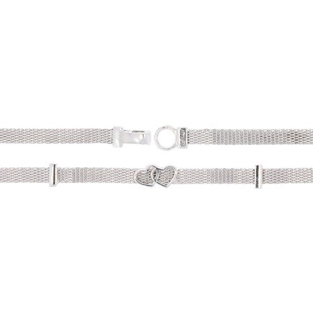 Srebrna Bransoletka -  2 Serduszka Rodowane pr 925