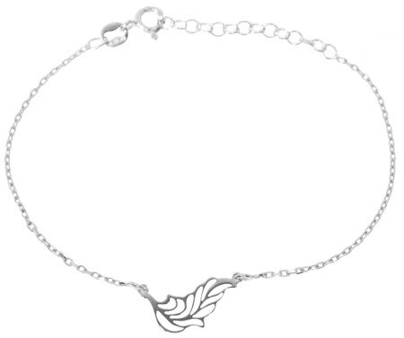 Celebrytka na rękę Bransoletka - LISTEK PIÓRKO srebro pr 925 CEL80