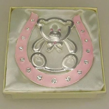 Dekoracyjna podkowa szczęścia - różowa, miś 473-3084