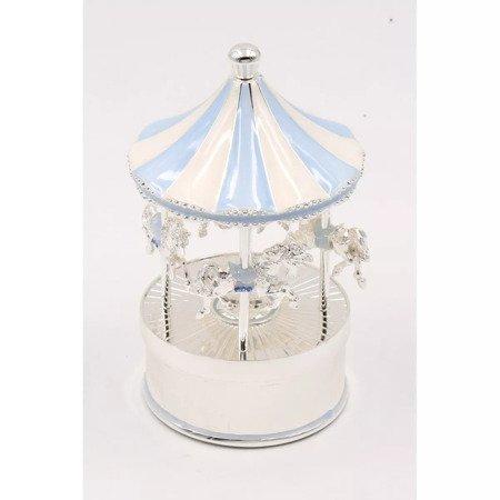 Karuzela pozytywka z masy perłowej - niebieska, koniki 473-3402
