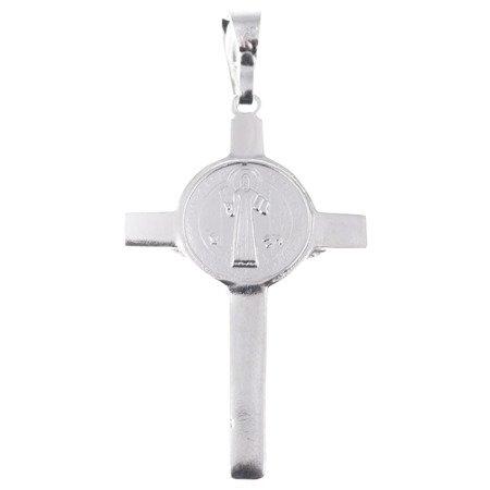 Krzyżyk srebrny św.Benedykta z wizerunkiem Jezusa MO014