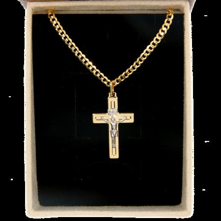 Łańcuch z krzyżem zestaw Złoty pancerka w opakowaniu ozdobnym z grawerem pr. 585 ZK035/ZL020/P3/BA-6
