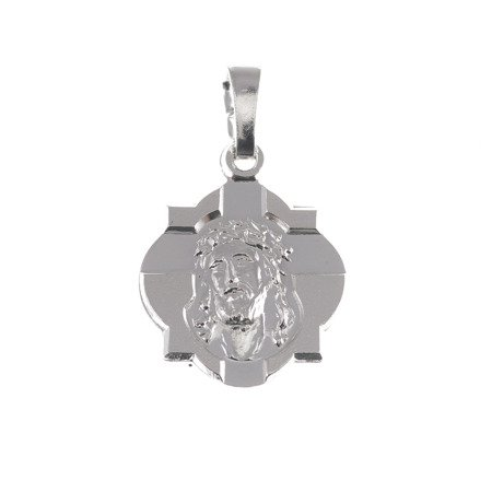 M76 Medalik srebrny - Jezus w koronie cierniowej