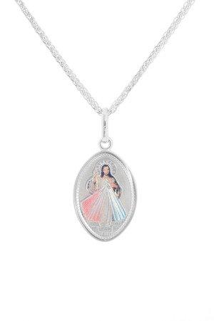 Medalik srebrny (1,7 g) - Jezus miłosierny kolorowy  MK043