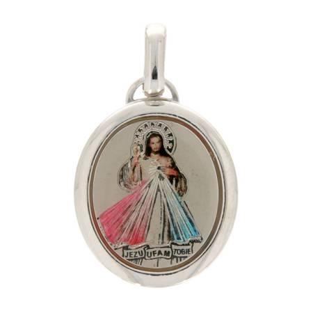 Medalik srebrny (2,1 g) - Jezus miłosierny kolorowy  MK048