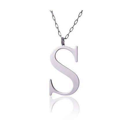 Naszyjnik celebrytka literka S 3,0 cm srebro rodowane pr 925 CELS3CM